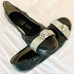 Mephisto Black Leather Flats with Silver Detail